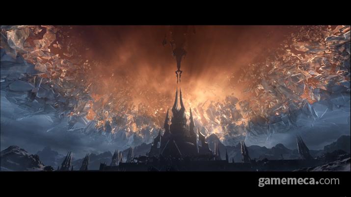 볼바르를 쓰러뜨리고 리치 왕의 투구를 깨버린 실바나르가 어둠땅을 아제로스와 연결한다 (사진출처: 블리즈컨 2019 공식 유튜브)