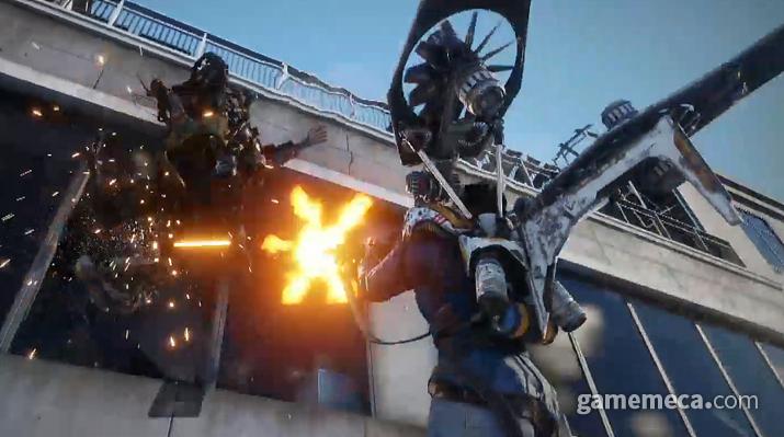 다양한 외골격 슈트를 활용하는 오픈월드 슈팅 게임 '플랜8' (사진출처: 생중계 영상 갈무리)