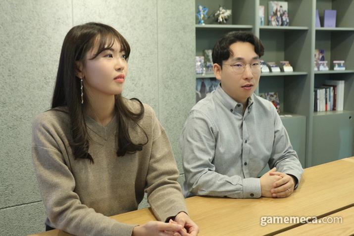 왼쪽부터 데이세븐 김별이 일러스트 작가, 장석하 대표 (사진: 게임메카 촬영)