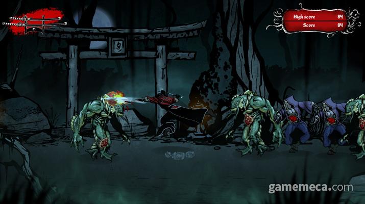 사무라이와 크툴루 괴물 간의 대결을 그린 '무사시 vs 크툴루'가 공개됐다 (사진출처: 게임 공식 스팀 페이지)