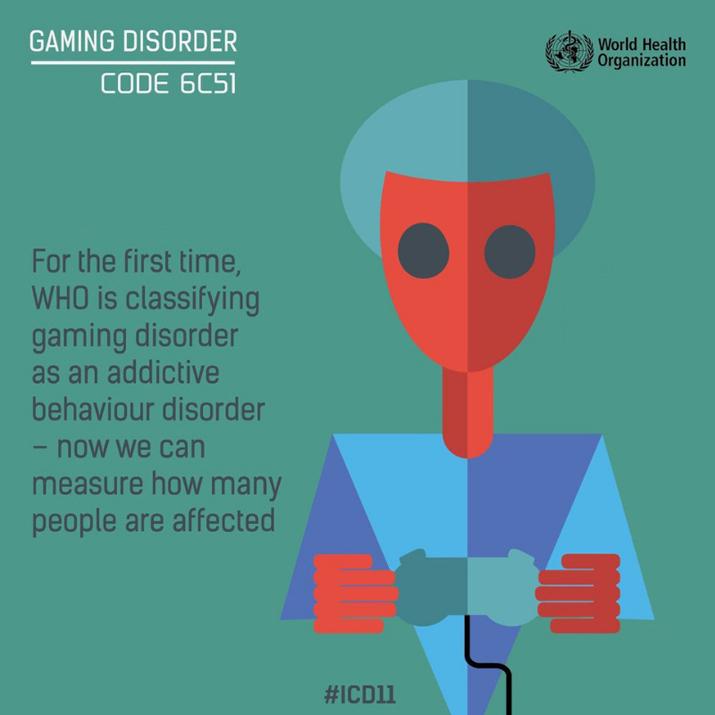 WHO에서 공개한 ICD-11 'gaming disorder' 시트 (사진출처: 한국게임전문미디어협회 제공)
