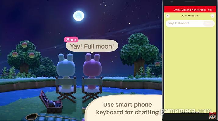 스마트폰으로 게임 내 채팅을 쉽게 칠 수 있다 (사진출처: 동물의 숲 다이렉트 갈무리)