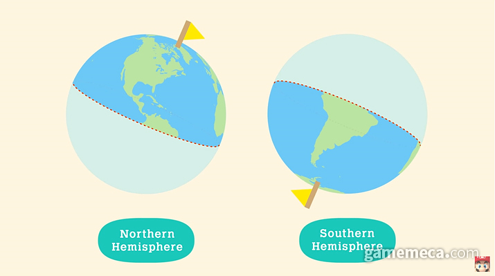 북반구, 남반구를 선택해 사계절 순서를 바꾸자 (사진출처: 동물의 숲 다이렉트 갈무리)