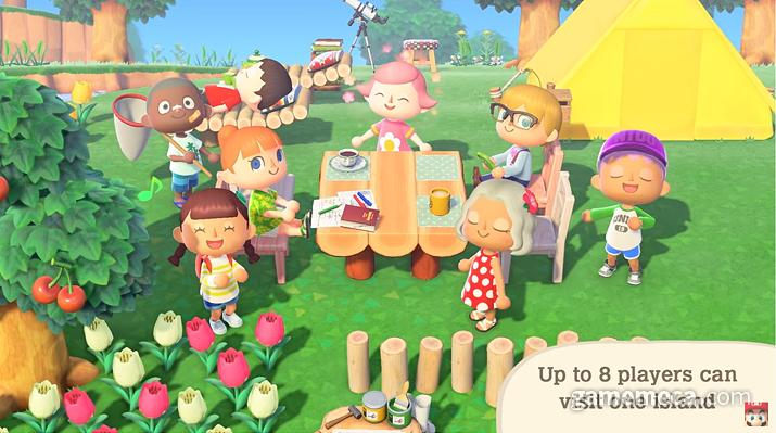 마을에서 최대 8명의 친구와 함께할 수 있다 (사진출처: 동물의 숲 다이렉트 갈무리)