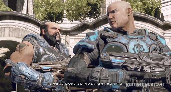 더 락을 닮은 기어스 오브 워 김민형 중위 (오른쪽, 사진출처: 게임 내 영상 갈무리)