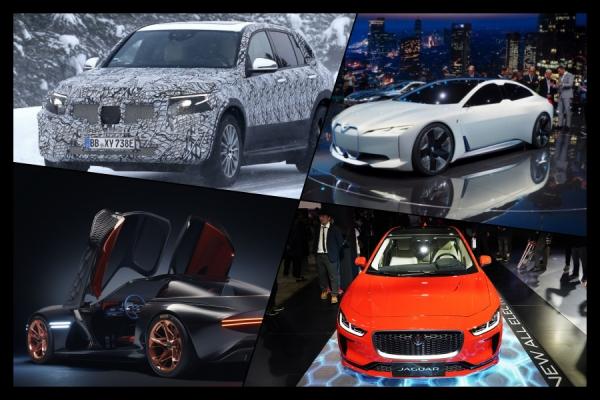 시계방향으로 메르세데스 벤츠 EQ C, BMW i4 콘셉트, 재규어 I-PACE, 현대차 에센시아 콘셉트