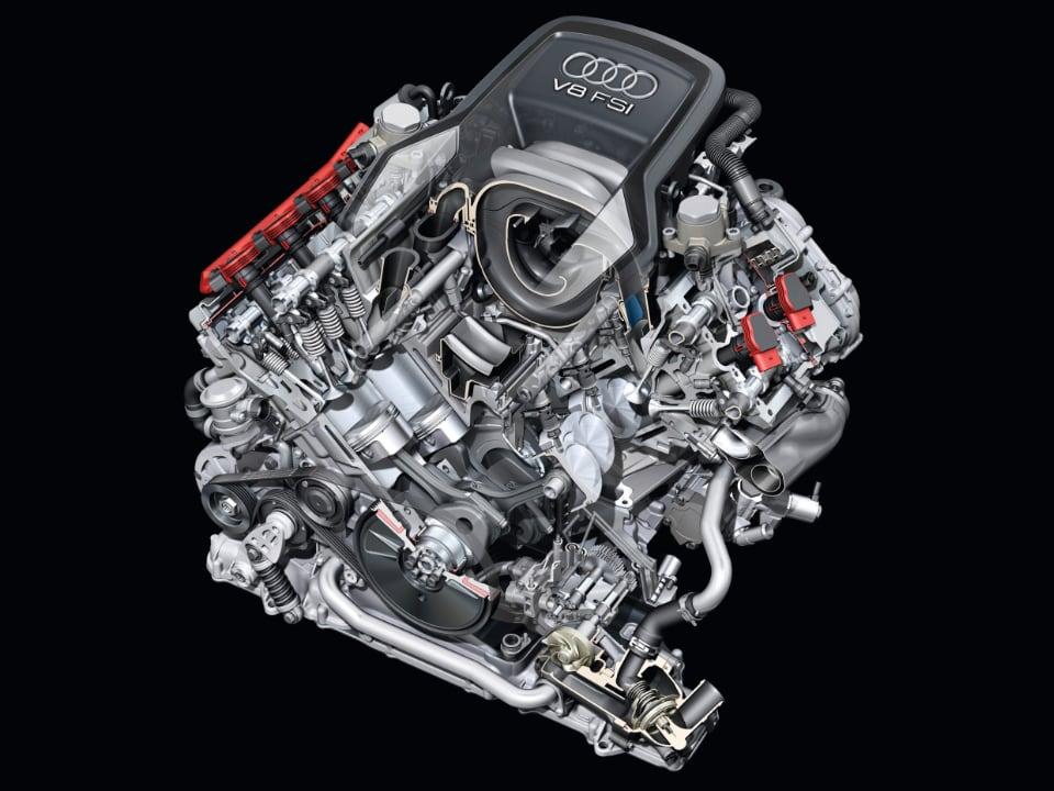 요즘 자동차 엔진은 수랭식 냉각계통을 갖춘 수랭식 엔진이다. 사진은 아우디 V8 4.2L 엔진
