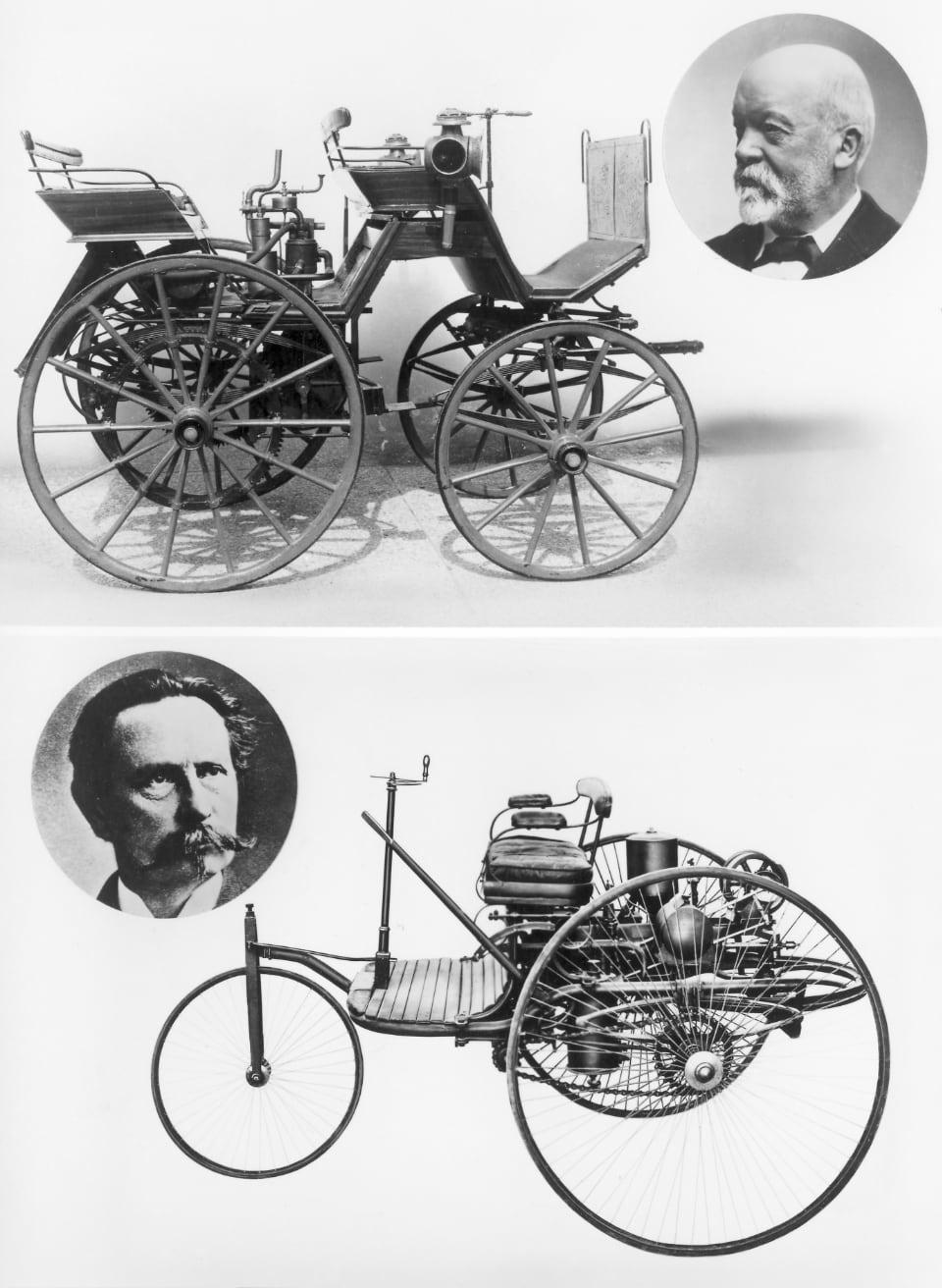 다임러(위)와 벤츠의 첫 차. 이들 모두 처음부터 내연기관을 자동차의 동력원으로 썼다
