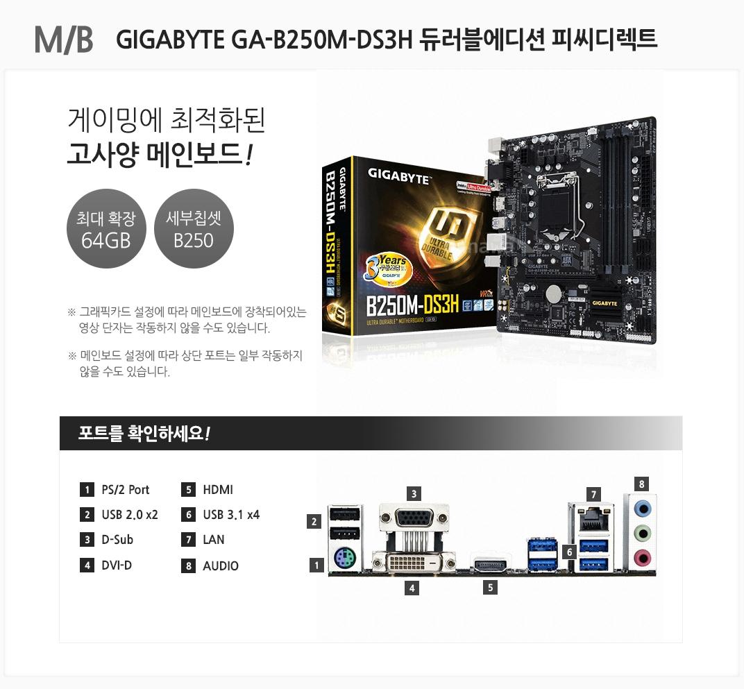 m/b  GIGABYTE GA-B250M-DS3H 듀러블에디션 피씨디렉트 게이밍에 최적화된 고사양 메인보드 최대 확장 64gb 세부칩셋 b250 그래픽카드 설정에 따라 메인보드에 장착되어 있는 영상 단자는 작동하지 않을 수도 있습니다 메인보드 설정에 따라 상단 포트는 일부 작동하지 않을 수도 있습니다 포트를 확인하세요 1. ps/2 port 2 usb 2.0 x2 3 d-sub 4 dvi-d 5 hdmi 6 usb 3.1 x4 7 lan 8 audio
