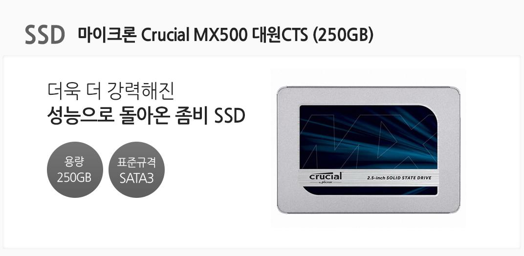 SSD 마이크론 Crucial MX500 대원CTS (250GB) 더욱 더 강력해진 성능으로 돌아온 좀비 SSD 용량 250GB 표준규격 SATA3