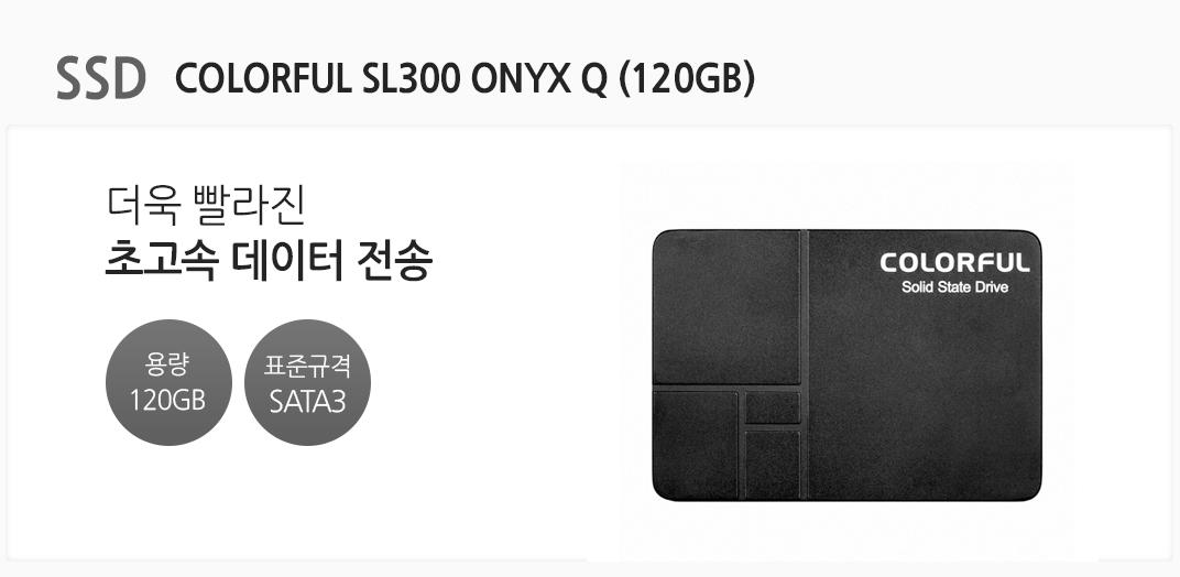 SSD COLORFUL SL300 ONYX Q (120GB) 더욱 빨라진 초고속 데이터 전송 용량 120GB 표준규격 SATA3