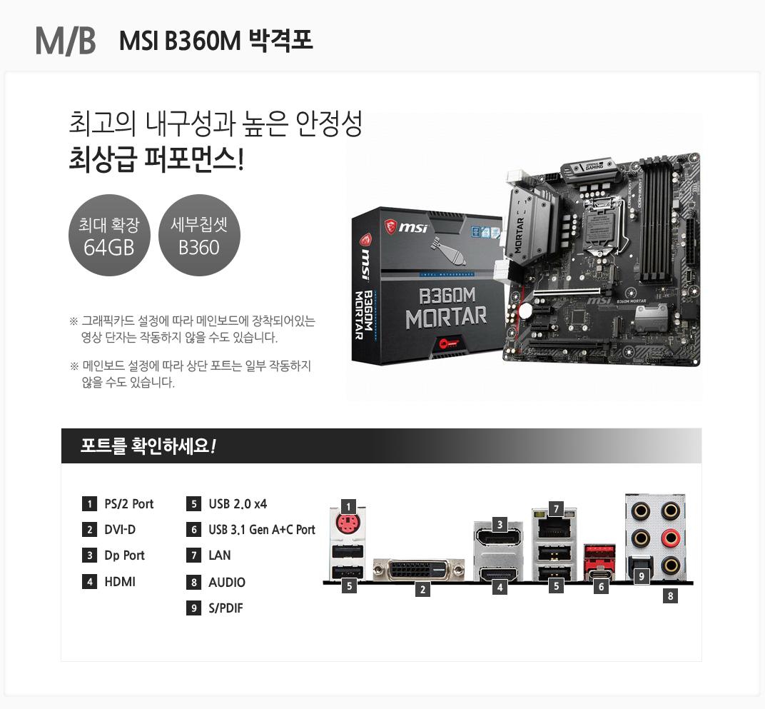 m/b MSI B360M 박격포 최고의 내구성과 높은 안정성 최상급 퍼포먼스 최대 확장 64GB 세부칩셋 B360 그래픽카드 설정에 따라 메인보드에 장착되어있는 영상 단자는 작동하지 않을 수도 있습니다. 메인보드 설정에 따라 상단 포트는 일부 작동하지 않을 수도 있습니다 포트를 확인하세요 1 PS/2 Port 2 DVI-D 3 Dp Port 4 HDMI 5 USB 2.0 x4 6 USB 3.1 Gen A+C Prot 7 LAN 8 AUDIO 9 S/PDIF