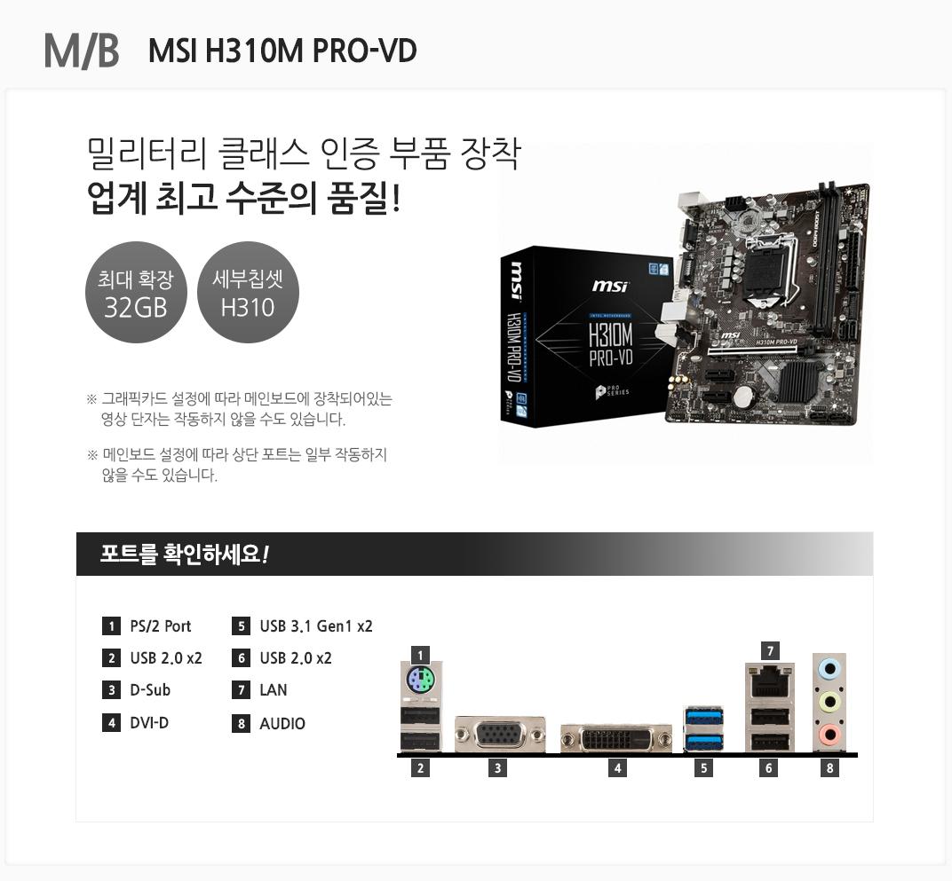 M/B MSI H310M PRO-VD 밀리터리 클래스 인증 부품 장착 업계 최고 수준의 품질 최대 확장 32GB 세부칩셋 H310 그래픽카드 설정에 따라 메인보드에 장착되어있는 영상 단자는 작동하지 않을 수도 있습니다. 메인보드 설정에 따라 상단 포트는 일부 작동하지 않을 수도 있습니다 포트를 확인하세요 1 PS/2 Port 2 USB 2.0 x2 3 D-Sub 4 DVI-D 5 USB 3.1Gen1 x2 6 USB 2.0 x2  7 LAN 8 AUDIO
