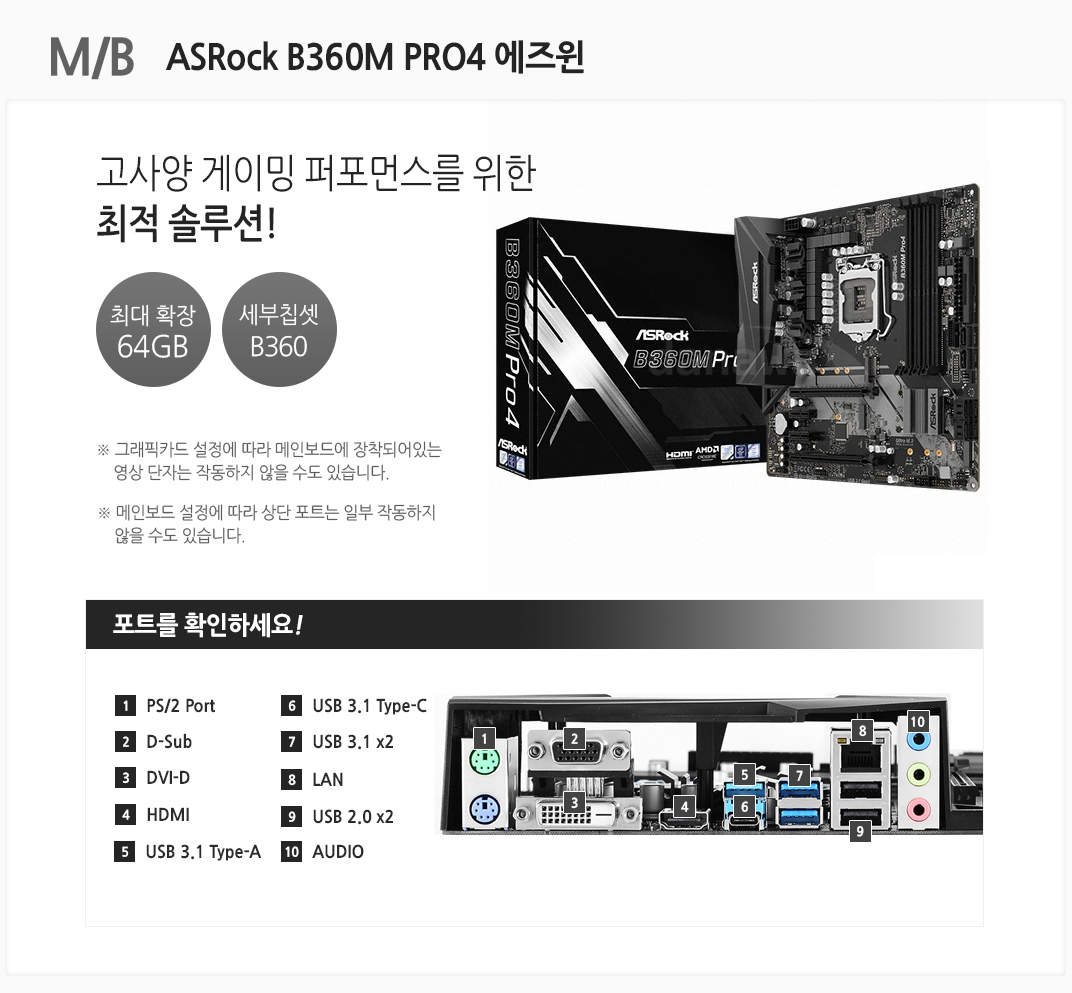 m/b ASRock B360M PRO4 에즈윈 고사양 게이밍 퍼포먼스를 위한 최적 솔루션 최대확장64GB 세부칩셋 B360 그래픽카드 설정에 따라 메인보드에 장착되어있는 영상 단자는 작동하지 않을 수도 있습니다 메인보드 설정에 따라 상단 포트는 일부 작동하지 않을 수도 있습니다 포트를 확인하세요 1 PS/2 Port 2 D-Sub 3 DVI-D 4 HDMI 5 USB 3.1 Type-A 6 USB 3.1 Type-C 7 USB 3.1 x2 8 LAN 9 USB 2.0 x2 10 오디오