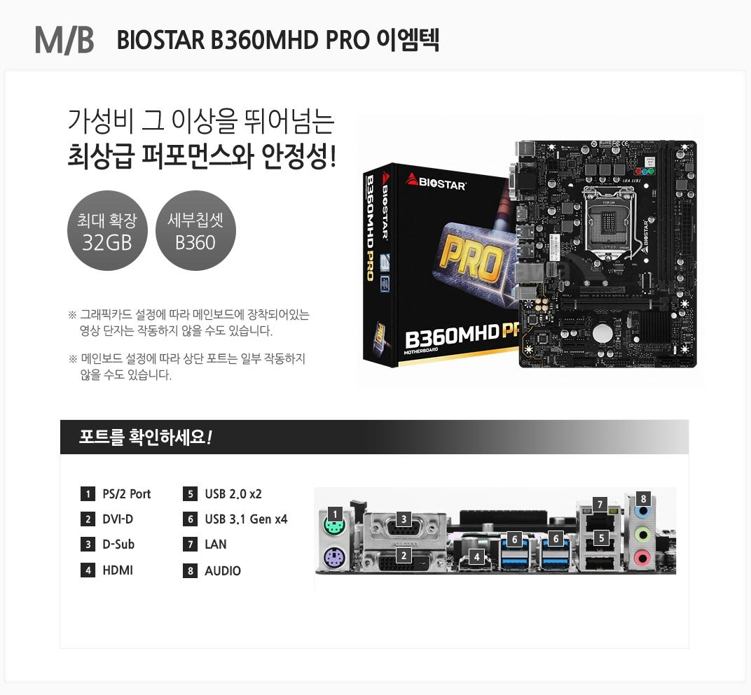 M/B BIOSTAR B360MHD PRO 이엠텍 BIOSTAR B360MHD PRO 이엠텍 가성비 그 이상을 뛰어넘는 최상급 퍼포먼스와 안정성 최대 확장 32GB 세부칩셋 B360 그래픽카드 설정에 따라 메인보드에 장착되어있는 영상 단자는 작동하지 않을 수도 있습니다. 메인보드 설정에 따라 상단 포트는 일부 작동하지 않을 수도 있습니다 포트를 확인하세요 1 PS/2 Port 2 DVI-D 3 D-Sub 4 HDMI5 USB 2.0 x4 6 USB 3.1 Gen x2 7 LAN 8 AUDIO