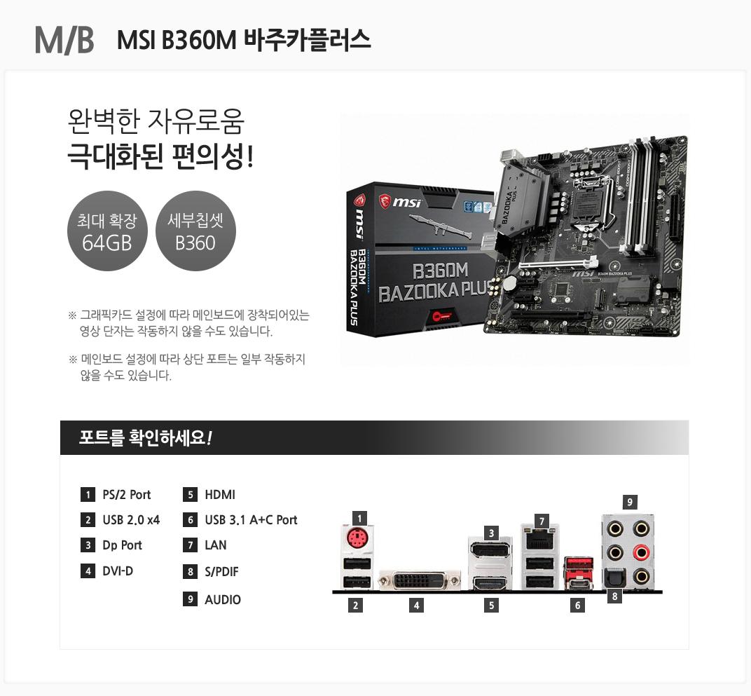 M/B MSI B360M 바주카플러스 완벽한 자유로움 극대화된 편의성 최대 확장 64GB 세부칩셋 B360 그래픽카드 설정에 따라 메인보드에 장착되어있는 영상 단자는 작동하지 않을 수도 있습니다. 메인보드 설정에 따라 상단 포트는 일부 작동하지 않을 수도 있습니다 포트를 확인하세요 1 PS/2 Port 2 USB 2.0 x4 3 Dp Port 4 DVI-D 5 HDMI 6 USB 3.1 A+C Prot 7 LAN 8 S/PDIF 9 AUDIO