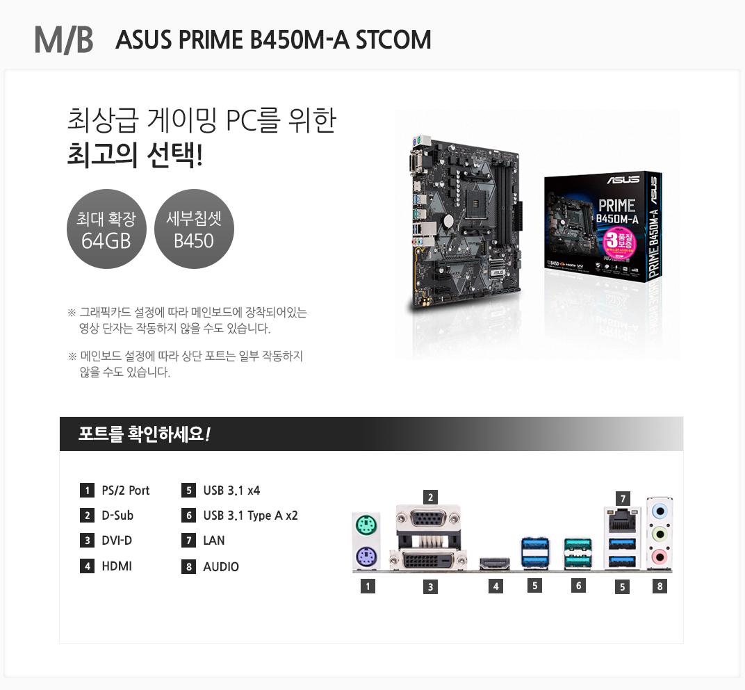 M/B ASUS PRIME B450M-A STCOM 최상급 게이밍 PC를 위한 최고의 선택 최대 확장 64GB 세부칩셋 B450 그래픽카드 설정에 따라 메인보드에 장착되어있는 영상 단자는 작동하지 않을 수도 있습니다. 메인보드 설정에 따라 상단 포트는 일부 작동하지 않을 수도 있습니다 포트를 확인하세요 1 PS/2 Port 2. D-Sub 3 DVI-D 4 HDMI 5 USB 3.1 x4 6 USB 3.1 Type A x2 7 LAN 8 AUDIO
