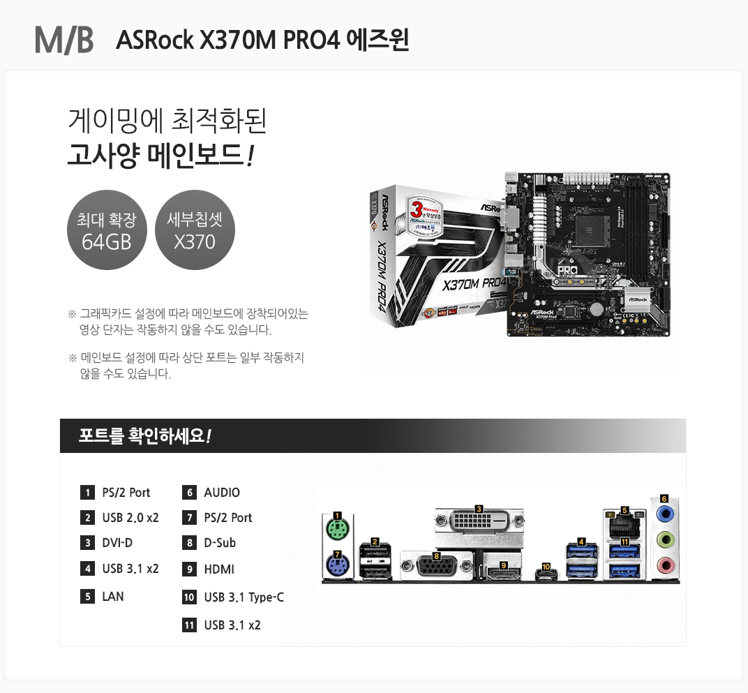 M/B ASRock X370M PRO4 에즈윈 ASRock X370M PRO4 에즈윈 ASRock X370M PRO4 에즈윈 ASRock X370M PRO4 에즈윈 ASRock X370M PRO4 에즈윈 게이밍에 최적화된 고사양 메인보드 최대 확장 64GB 세부칩셋 X370 그래픽카드 설정에 따라 메인보드에 장착되어있는 영상 단자는 작동하지 않을 수도 있습니다. 메인보드 설정에 따라 상단 포트는 일부 작동하지 않을 수도 있습니다 포트를 확인하세요 1 OS/2 Port 2. USB 2.0 x2 3 DVI-D 4 USB 3.1 x2 5 LAN 6 AUDIO 7 PS/2 Port 8 D-Sub 9 HDMI 10 USB 3.1 Type-C 11 USB 3.1 x2