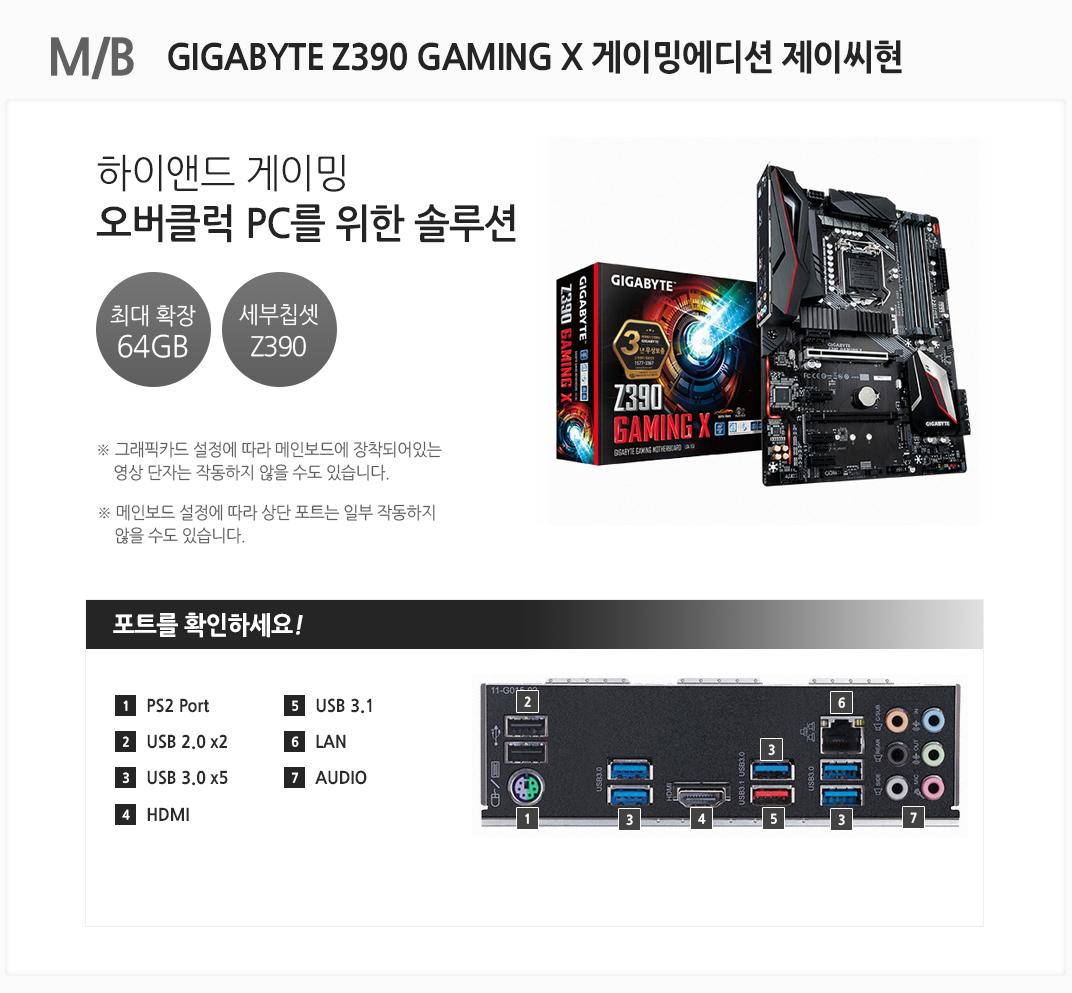 M/B GIGABYTE Z390 GAMING X 게이밍에디션 제이씨현 하이앤드 게이밍 오버클럭 PC를 위한 솔루션 최대 확장 64GB 세부칩셋 Z390 그래픽카드 설정에 따라 메인보드에 장착되어있는 영상 단자는 작동하지 않을 수도 있습니다. 메인보드 설정에 따라 상단 포트는 일부 작동하지 않을 수도 있습니다 포트를 확인하세요 1 PS2 Port 2. USB 2.0 x2 3 USB 3.0 x5 4 HDMI 5 USB 3.1 6 LAN 7 AUDIO