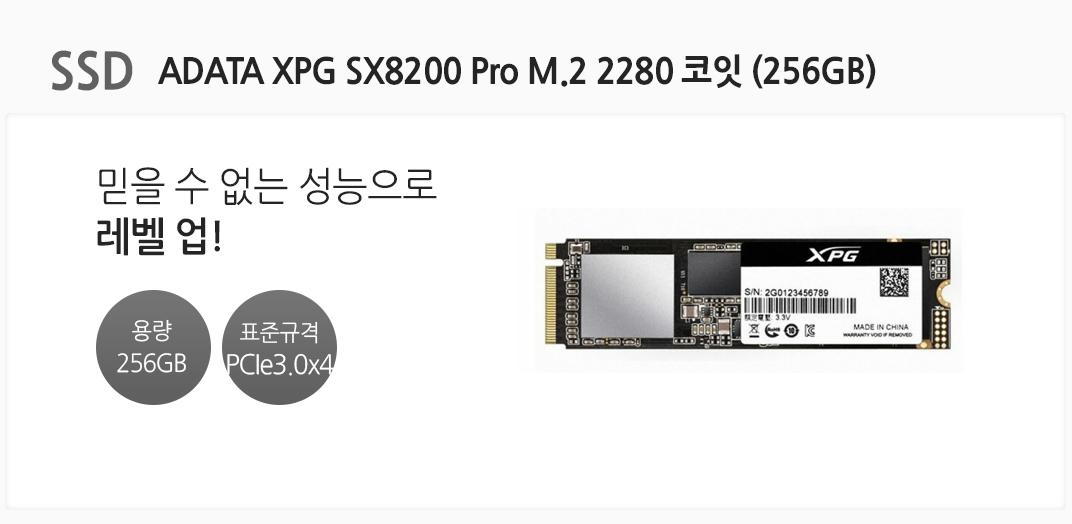 SSD ADATA XPG SX8200 Pro M.2 2280 코잇 (256GB) 믿을 수 없는 성능으로 레벨 업 용량 256GB 표준규격 PCIe3.0 x4