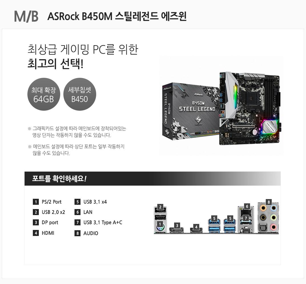 M/B ASRock B450M 스틸레전드 에즈윈 최상급 게이밍PC를 위한 최고의 선택! 최대 확장 64GB 세부칩셋 B450 그래픽카드 설정에 따라 메인보드에 장착되어있는 영상 단자는 작동하지 않을 수도 있습니다. 메인보드 설정에 따라 상단 포트는 일부 작동하지 않을 수도 있습니다 포트를 확인하세요 1 PS/2 Port 2. USB 2.0 x2 3 DP port 4 HDMI 5 USB 3.1 x4 6 LAN 7 USB 3.1 Type A+C 8 AUDIO