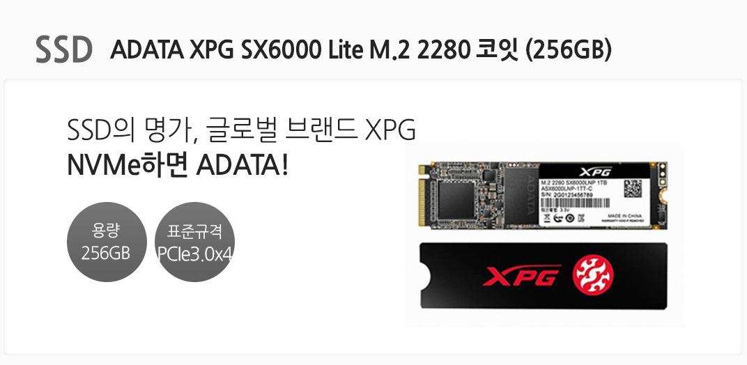 SSD ADATA XPG SX6000 Lite M.2 2280 코잇 (256GB) SSD의 명가, 글로벌 브랜드 XPG NVMe하면 ADATA  용량 256GB 표준규격 PCIe3.0x4