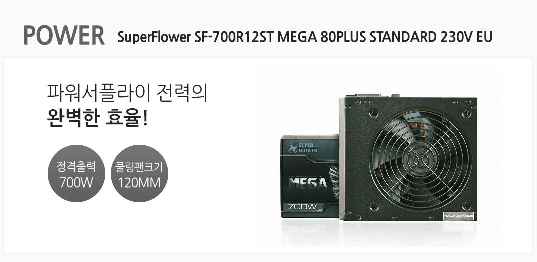 POWER SuperFlower SF-700R12ST MEGA 80PLUS STANDARD 230V EU 파워 서플라이 전력의 완벽한 효율 정격출력 700w 쿨링팬크기 120mm