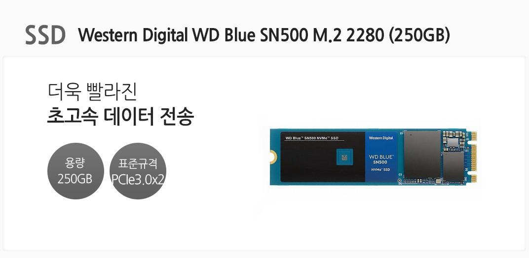 SSD Western Digital WD Blue SN500 M.2 2280 (250GB) 더욱 빨라진 초고속 데이터 전송 용량 250GB 표준규격 PCIe3.0 x2