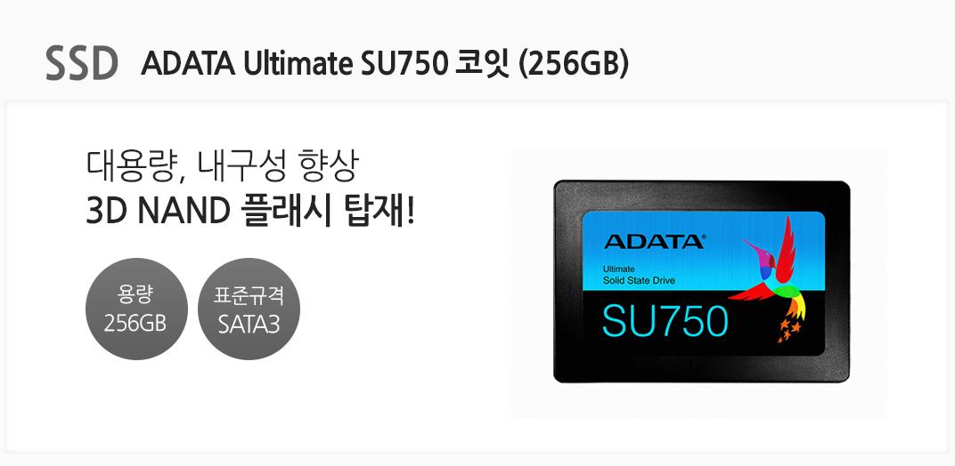 SSD ADATA Ultimate SU750 코잇 (256GB) 대용량, 내구성 향상 3D NAND 플래시 탑재 전송 용량 256GB 표준규격 SATA3