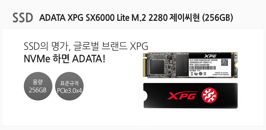 SSD ADATA XPG SX6000 Lite M.2 2280 제이씨현 (256GB) SSD의 명가, 글로벌 브랜드 XPG NVMe하면 ADATA 전송 용량 256GB 표준규격 PCIe3.0x4