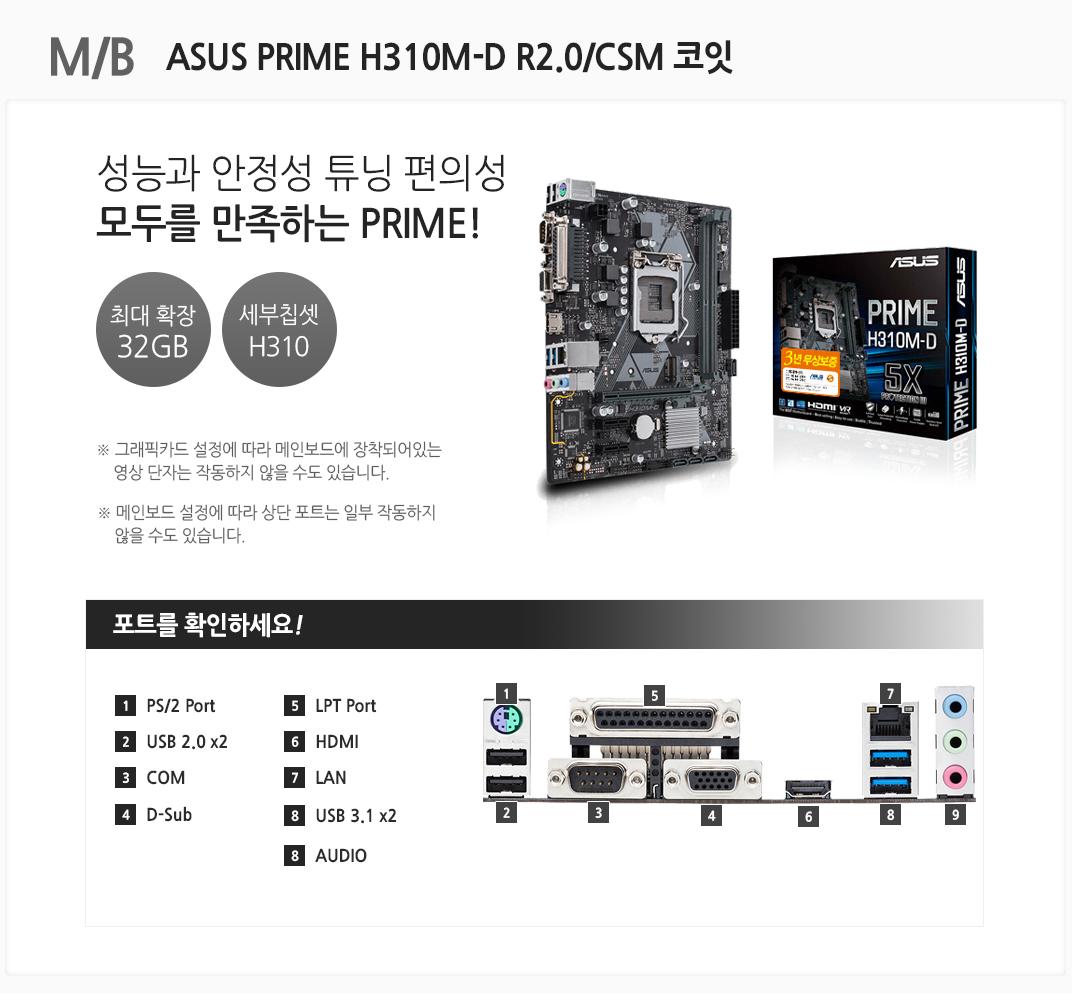 M/B ASUS PRIME H310M-D R2.0/CSM 코잇 성능과 안정성 튜닝 편의성 모두를 만족하는 PRIME! 최대 확장 32GB 세부칩셋 H310 그래픽카드 설정에 따라 메인보드에 장착되어있는 영상 단자는 작동하지 않을 수도 있습니다. 메인보드 설정에 따라 상단 포트는 일부 작동하지 않을 수도 있습니다 포트를 확인하세요 1 PS/2 Port 2 USB 2.0 x2 3 COM 4 D-Sub 5 LPT Port 6 HDMI 7 LAN 8 USB 3.1 x2 9 AUDIO