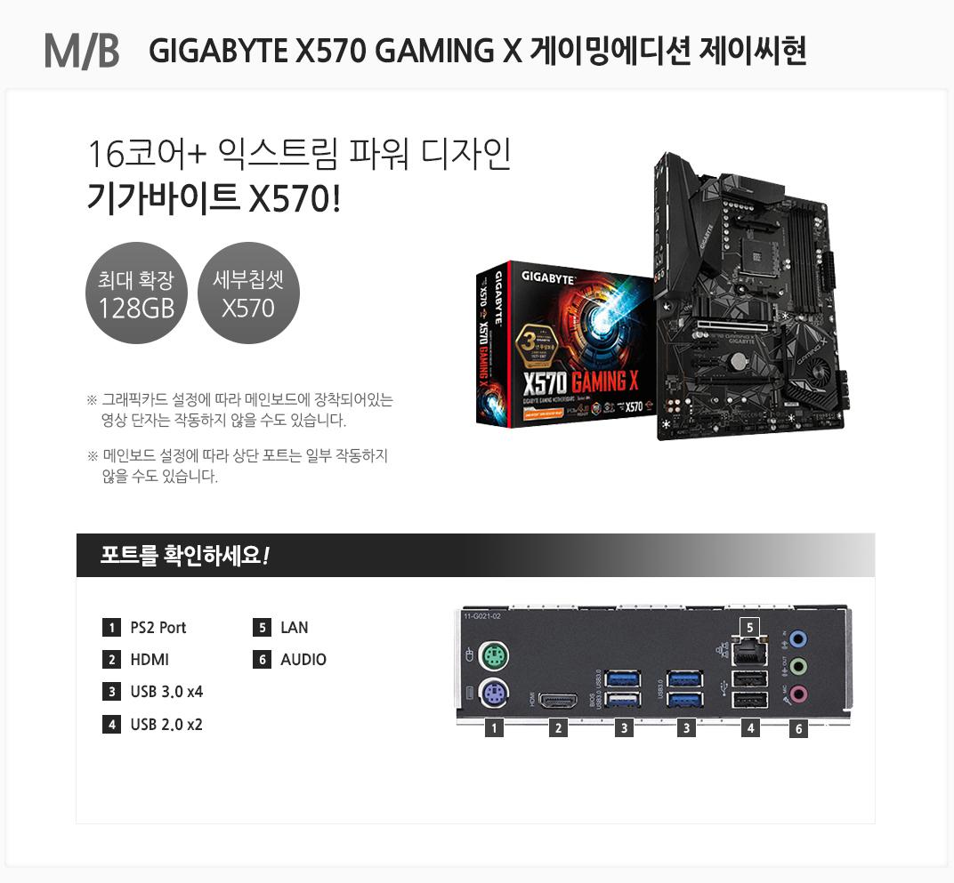 M/B GIGABYTE X570 GAMING X 게이밍에디션 제이씨현 16코어+ 익스트림 파워 디자인 기가바이트 X570 최대 확장 128GB 세부칩셋 X570 그래픽카드 설정에 따라 메인보드에 장착되어있는 영상 단자는 작동하지 않을 수도 있습니다. 메인보드 설정에 따라 상단 포트는 일부 작동하지 않을 수도 있습니다 포트를 확인하세요 1 PS/2 Port 2. HDMI 3 USB 3.0 x4 4 USB 2.0 x2 5 LAN 6 AUDIO
