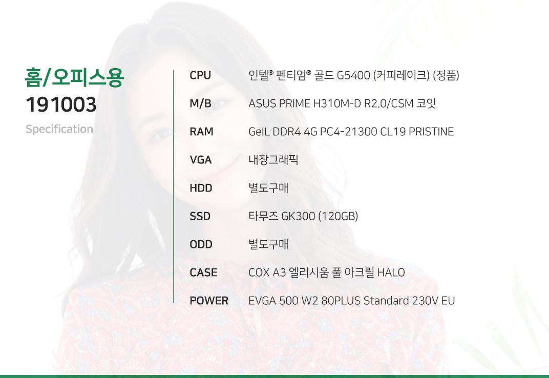 인텔 펜티엄 골드 G5400 (커피레이크) (정품) ASUS PRIME H310M-D R2.0/CSM 코잇 GeIL DDR4 4G PC4-21300 CL19 PRISTINE 내장그래픽 별도구매 타무즈 GK300 (120GB) 별도구매 COX A3 엘리시움 풀 아크릴 HALO  EVGA 500 W2 80PLUS Standard 230V EU