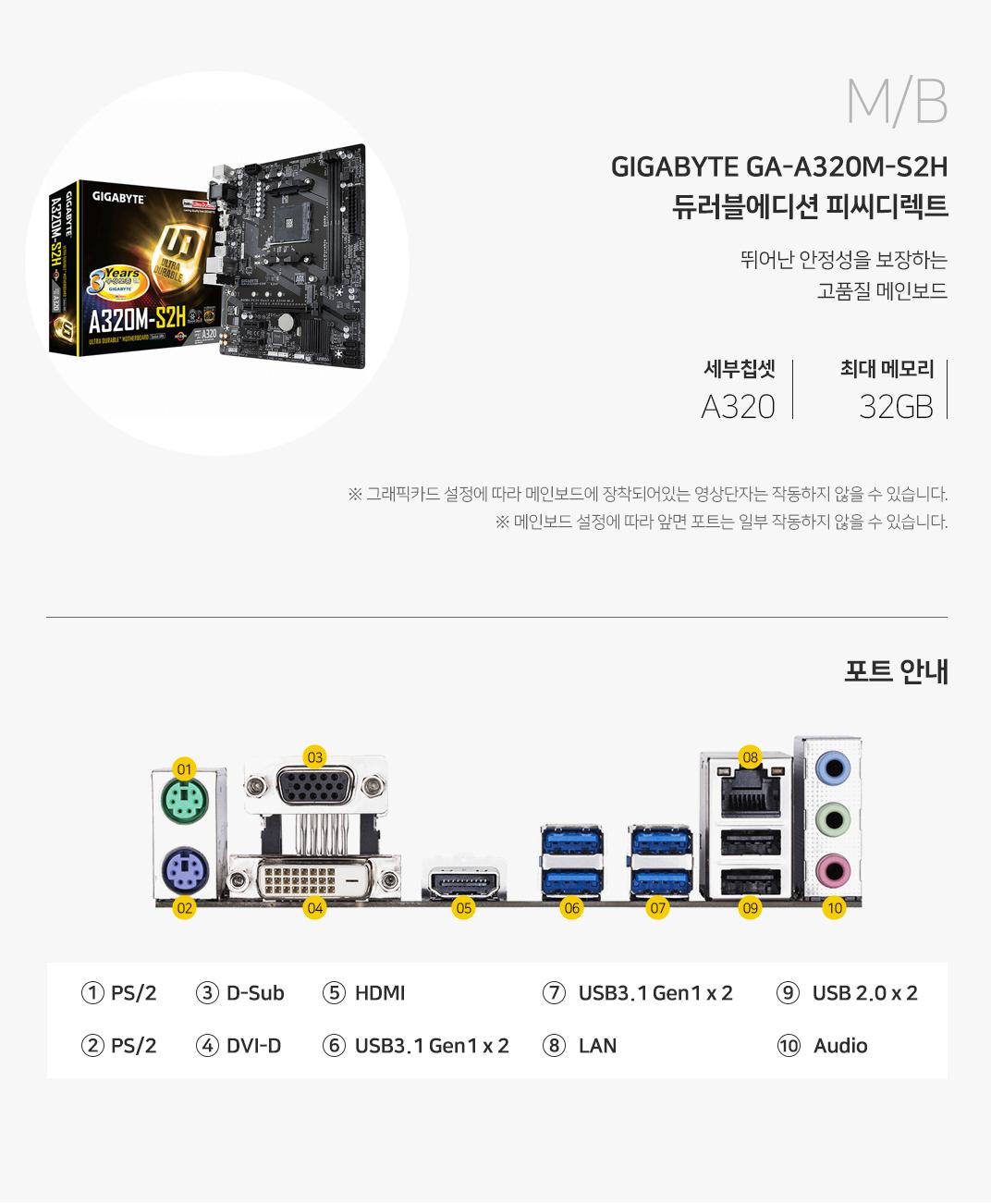 CPU GIGABYTE GA-A320M-S2H 듀러블에디션 피씨디렉트 뛰어난 안정성을 보장하는 고품질 메인보드 세부칩셋A320 최대 메모리32GB 그래픽 설정에 따라 메인보드에 장착되어 있는 영상단자는 작동하지 않을 수 있습니다. 메인보드 설정에 따라 앞면 포트는 일부 작동하지 않을 수 있습니다.