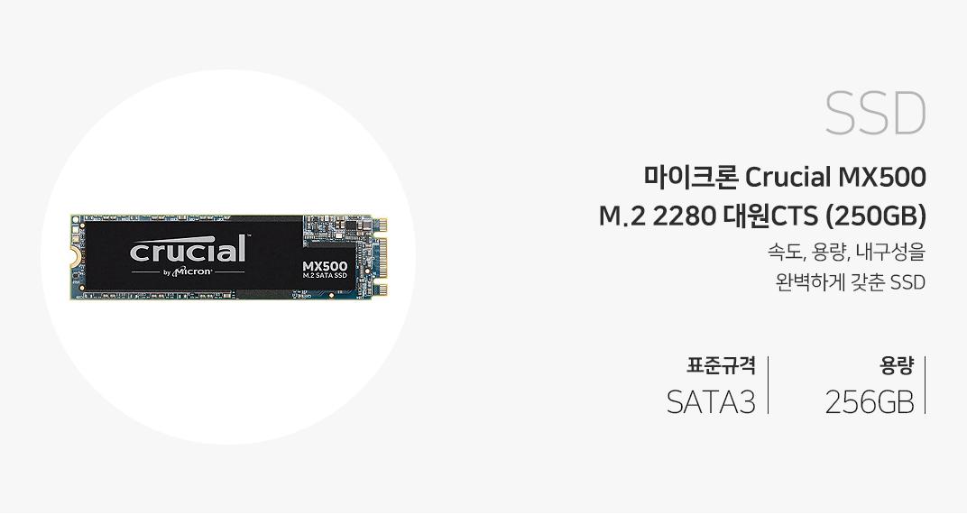 RAM 마이크론 Crucial MX500 M.2 2280 대원CTS (250GB) 속도, 용량, 내구성을 완벽하게 갖춘 SSD 표준규격 SATA3 용량 250GB