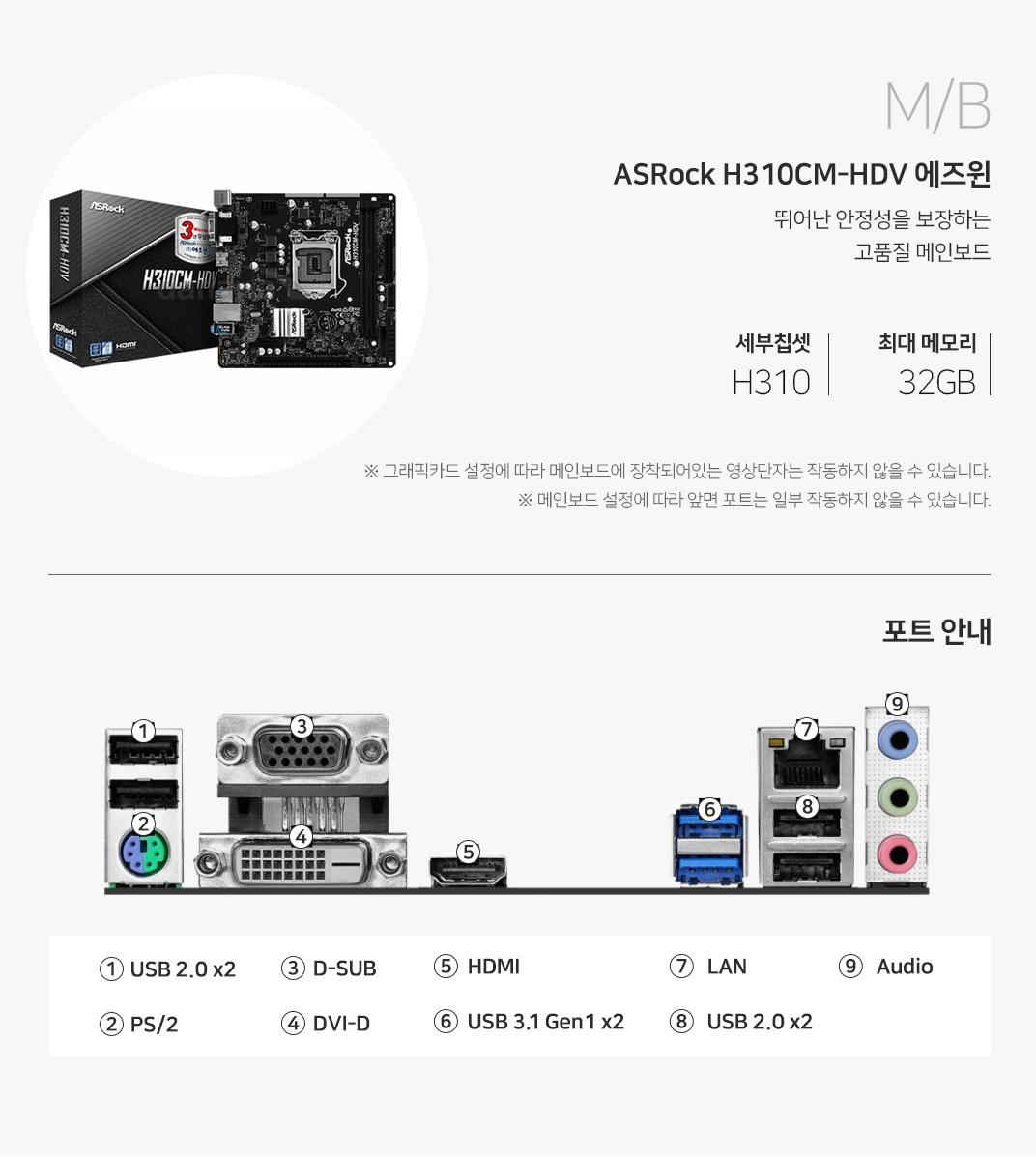 M/B ASRock H310CM-HDV 에즈윈 뛰어난 안정성을 보장하는 고품질 메인보드 세부칩셋 H310 최대 메모리 32GB 그래픽 설정에 따라 메인보드에 장착되어 있는 영상단자는 작동하지 않을 수 있습니다. 메인보드 설정에 따라 앞면 포트는 일부 작동하지 않을 수 있습니다.
