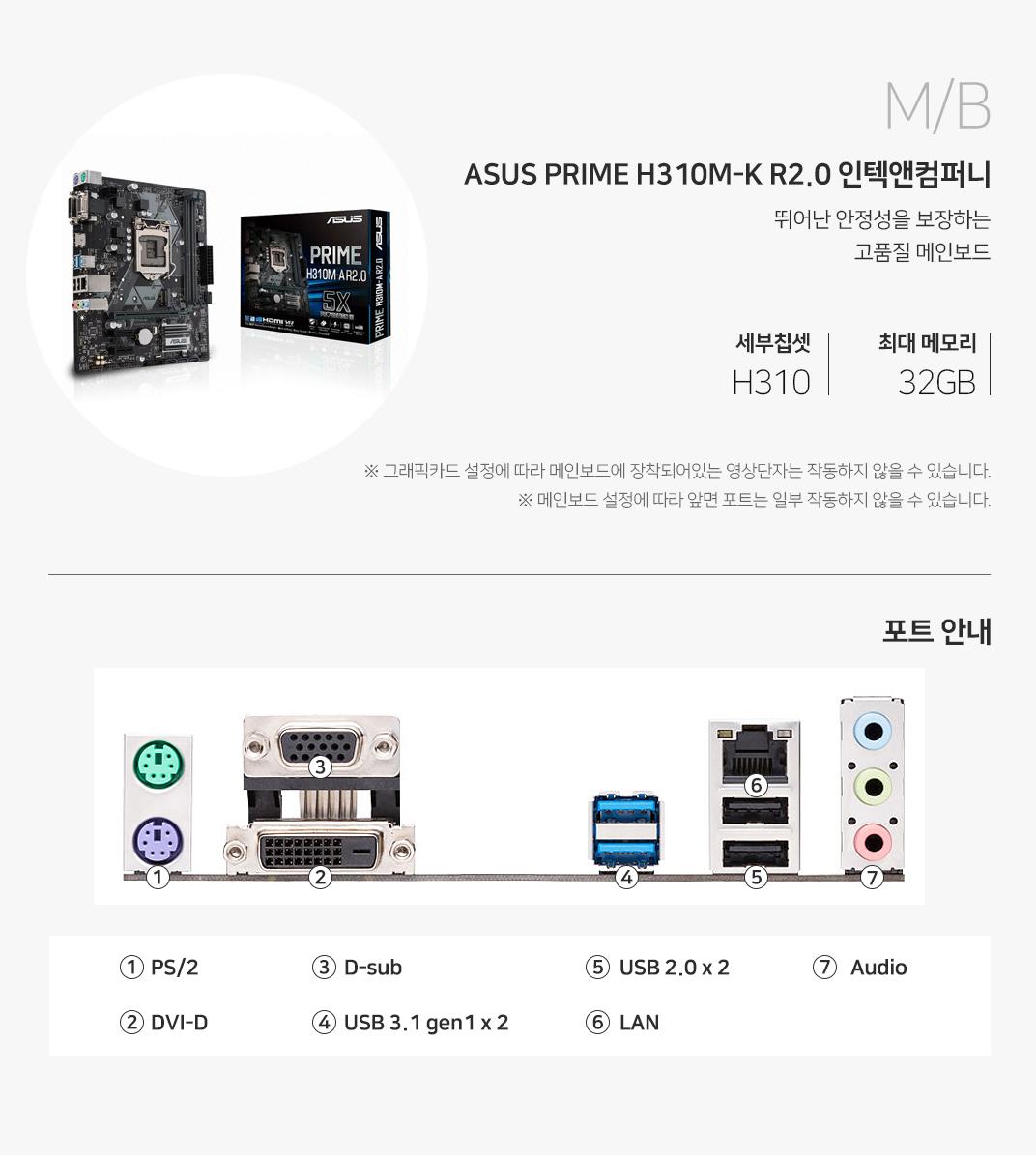 M/B ASUS PRIME H310M-K R2.0 인텍앤컴퍼니 뛰어난 안정성을 보장하는 고품질 메인보드 세부칩셋 H310 최대 메모리 32GB 그래픽 설정에 따라 메인보드에 장착되어 있는 영상단자는 작동하지 않을 수 있습니다. 메인보드 설정에 따라 앞면 포트는 일부 작동하지 않을 수 있습니다.