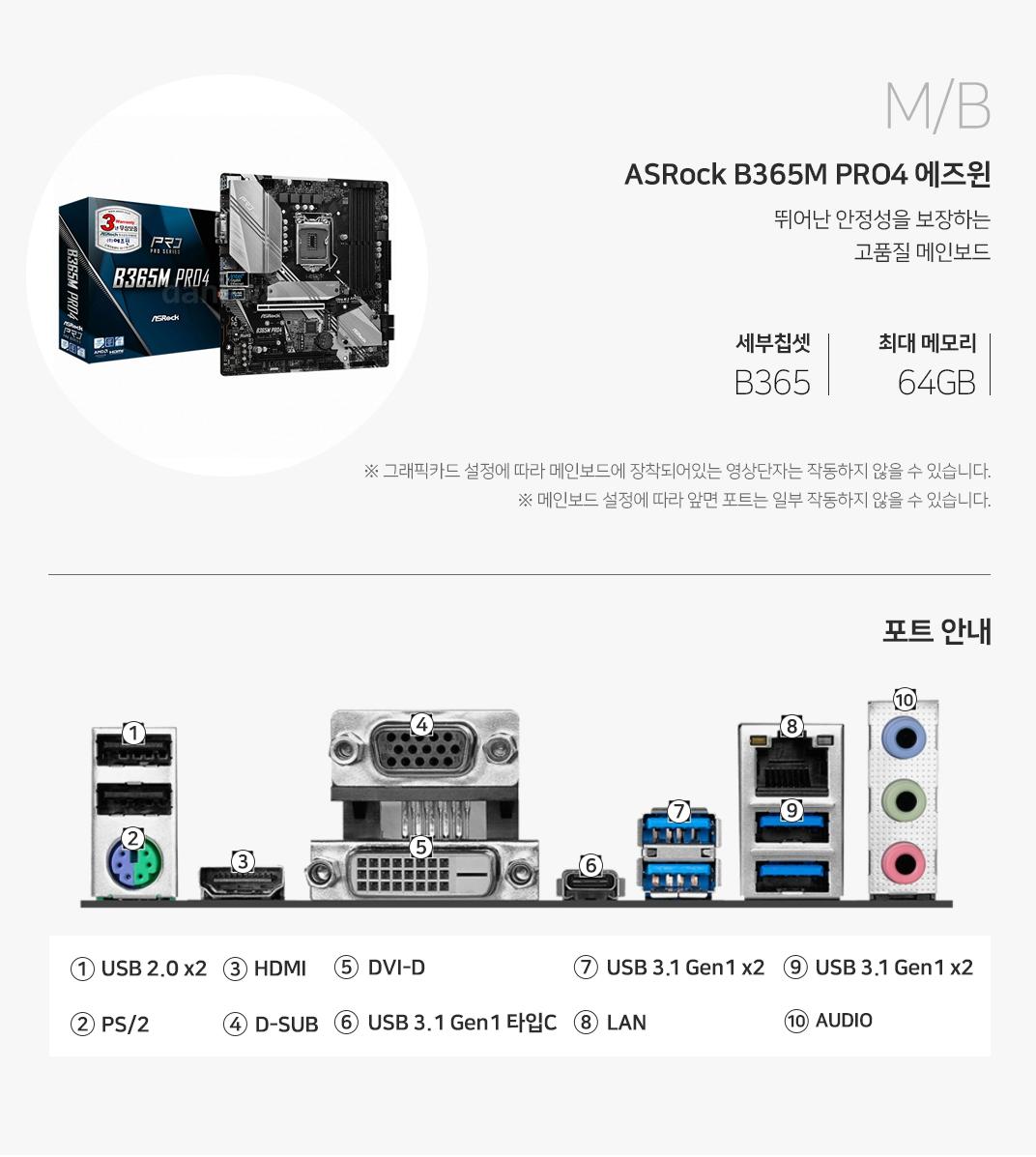 M/B ASRock B365M PRO4 에즈윈 뛰어난 안정성을 보장하는 고품질 메인보드 세부칩셋 H310 최대메모리 32GB 그래픽 설정에 따라 메인보드에 장착되어 있는 영상단자는 작동하지 않을 수 있습니다. 메인보드 설정에 따라 앞면 포트는 일부 작동하지 않을 수 있습니다.