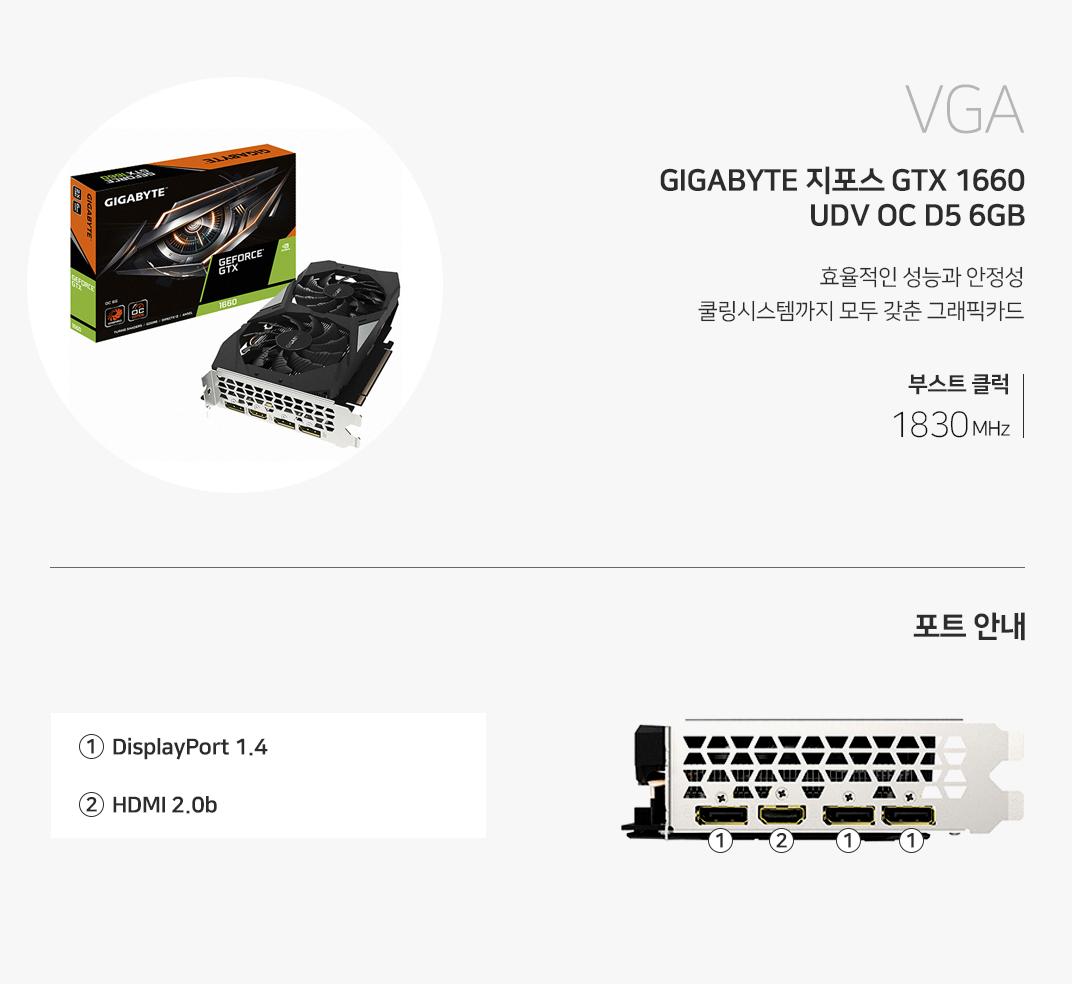 VGA GIGABYTE 지포스 GTX 1660 UDV OC D5 6GB 효율적인 열전도율을 위한 대형 복합식 히트파이프 탑재 부스트클럭 1830MHz 포트를 확인하세요 1 DP Port  2 HDMI