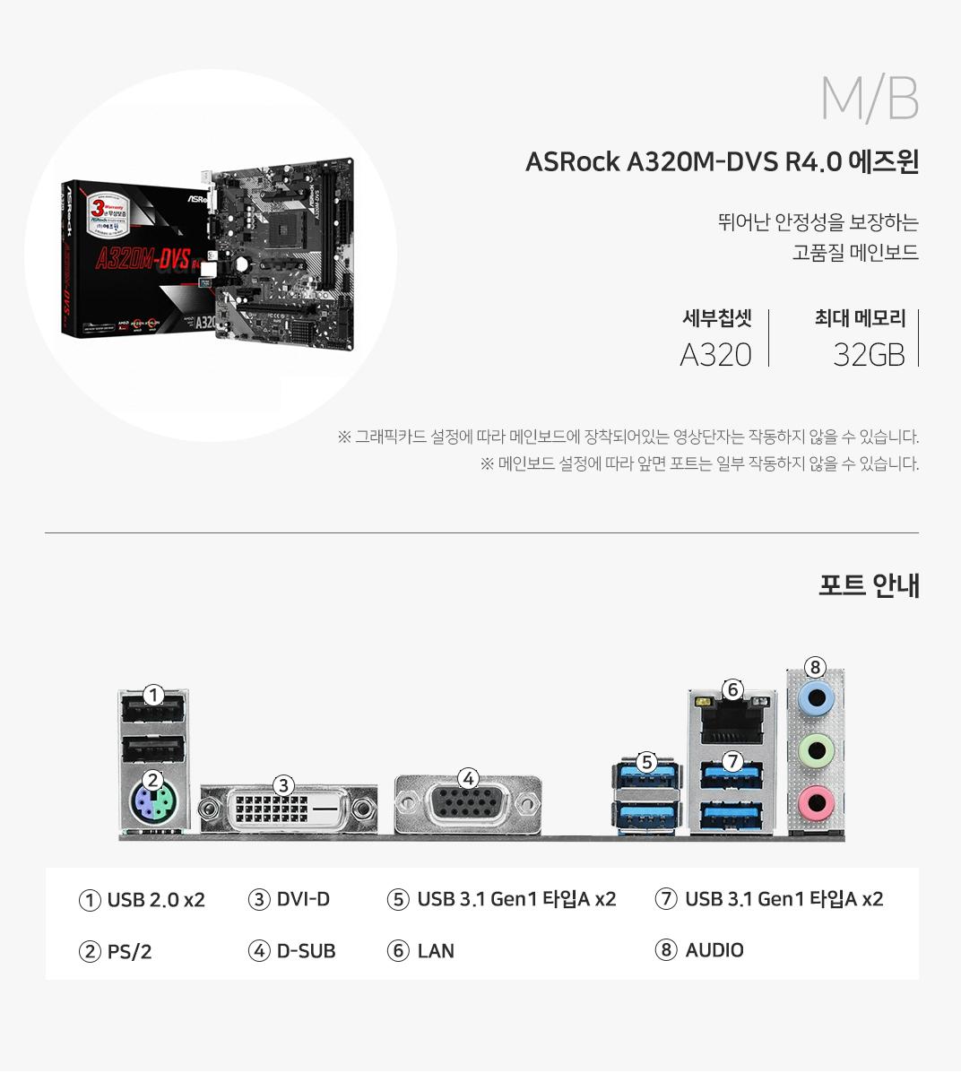 M/B ASRock A320M-DVS R4.0 에즈윈 뛰어난 안정성을 보장하는 고품질 메인보드 세부칩셋  A320 최대메모리 32GB 그래픽 설정에 따라 메인보드에 장착되어 있는 영상단자는 작동하지 않을 수 있습니다. 메인보드 설정에 따라 앞면 포트는 일부 작동하지 않을 수 있습니다.