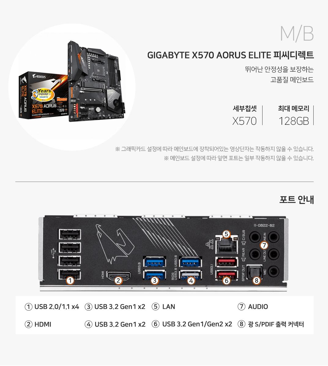 M/B GIGABYTE X570 AORUS ELITE 피씨디렉트 뛰어난 안정성을 보장하는 고품질 메인보드 세부칩셋 X570 최대메모리 128GB 그래픽 설정에 따라 메인보드에 장착되어 있는 영상단자는 작동하지 않을 수 있습니다. 메인보드 설정에 따라 앞면 포트는 일부 작동하지 않을 수 있습니다.