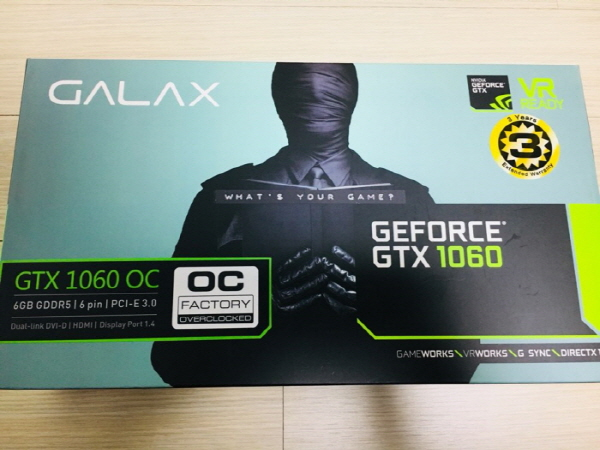GALAX 지포스 GTX1060 OC D5 6GB <간단 사용기>