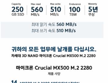 마이크론 Crucial MX500 M.2 2280 아스크텍 (250GB) 체험단