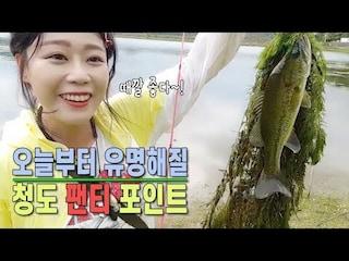 영상 공개 후 청도의 유명해질 청도 팬티 포인트 ㅋㅋㅋ 아잉2의 배스실력은? [여자 낚시꾼 아잉2]