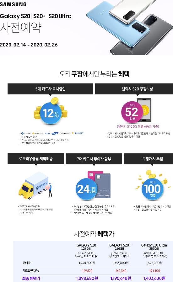 삼성 갤럭시 S20/ S20+/S20 Ultra 사전예약 신한/국민/삼성/현대/농협카드 12%할인 (2020.2.14~2020.2~26)