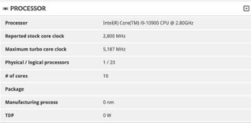 인텔 코어 i9-10900의 부스트 클럭은 5.2GHz 일 수 있습니다