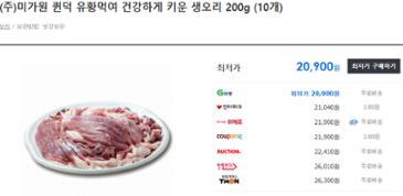 퀸덕 유황먹여 키운 생오리 슬라이스 200g (10개) - 20,900원