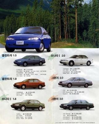 94년 현대자동차 가격표