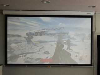 중견기업 회의실 프로젝터와 수동 스크린 설치 옵토마 TWU346 그랜드뷰 GSR100