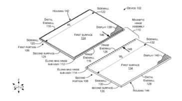 듀얼 스크린의 미래 폼팩터?··· 마이크로소프트, 자석 연결형 스크린 힌지 특허 취득